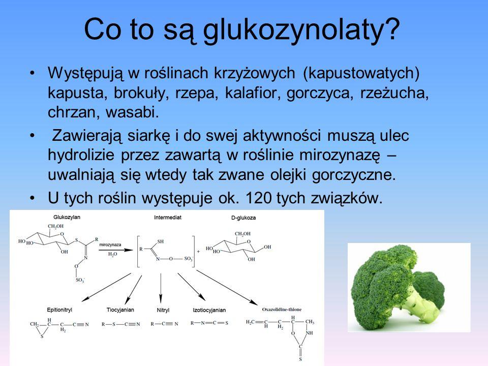 Co to są glukozynolaty Występują w roślinach krzyżowych (kapustowatych) kapusta, brokuły, rzepa, kalafior, gorczyca, rzeżucha, chrzan, wasabi.