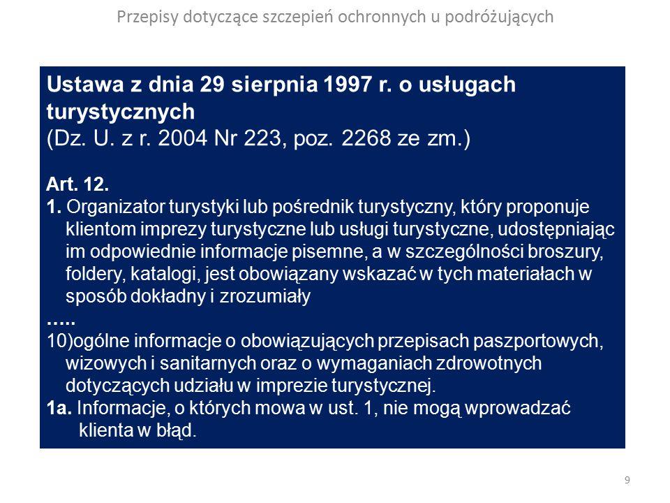 Przepisy dotyczące szczepień ochronnych u podróżujących