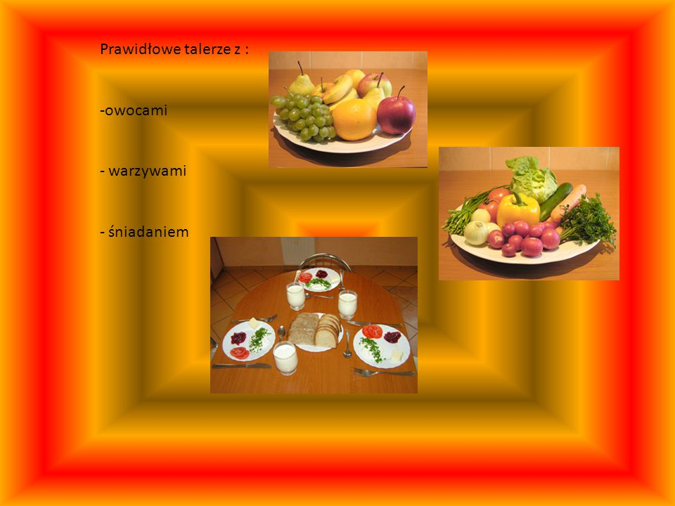 Prawidłowe talerze z : owocami warzywami śniadaniem