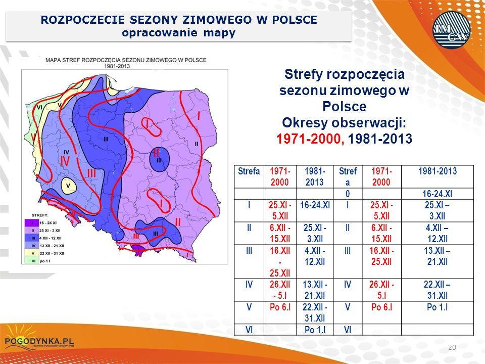 ROZPOCZECIE SEZONY ZIMOWEGO W POLSCE opracowanie mapy