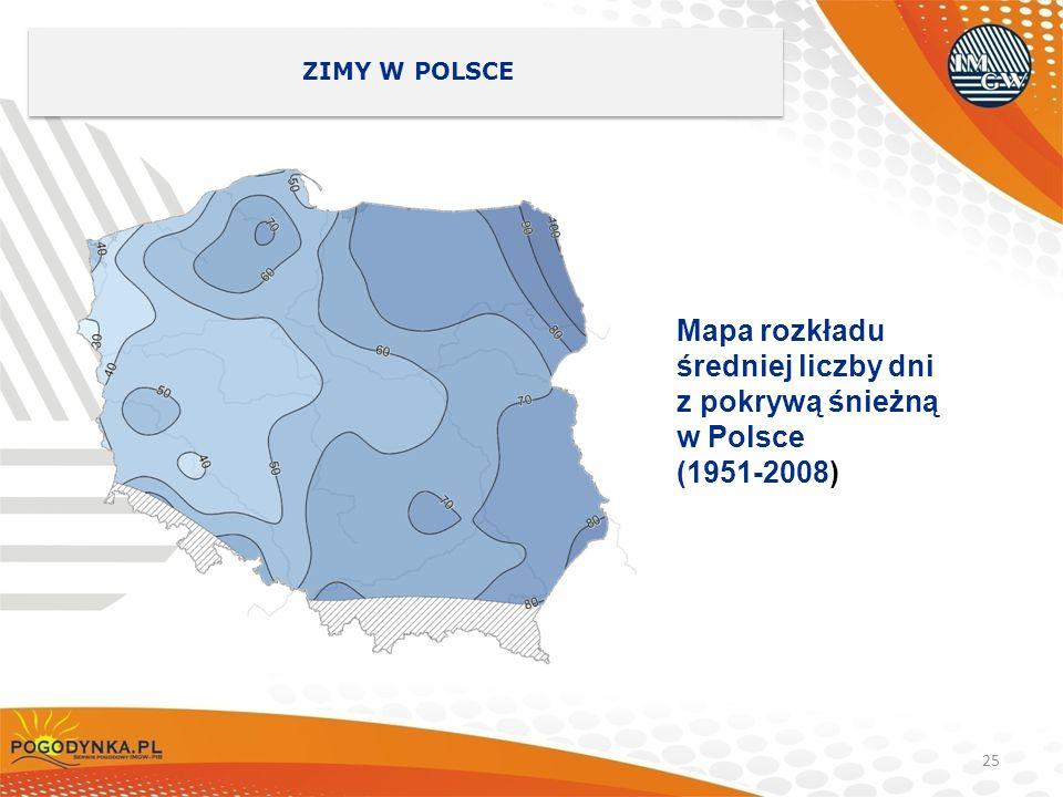 Mapa rozkładu średniej liczby dni z pokrywą śnieżną w Polsce