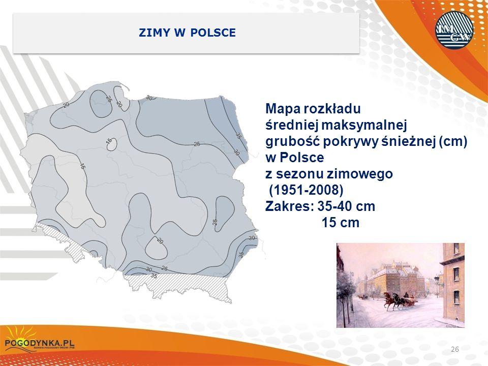 grubość pokrywy śnieżnej (cm) w Polsce z sezonu zimowego (1951-2008)
