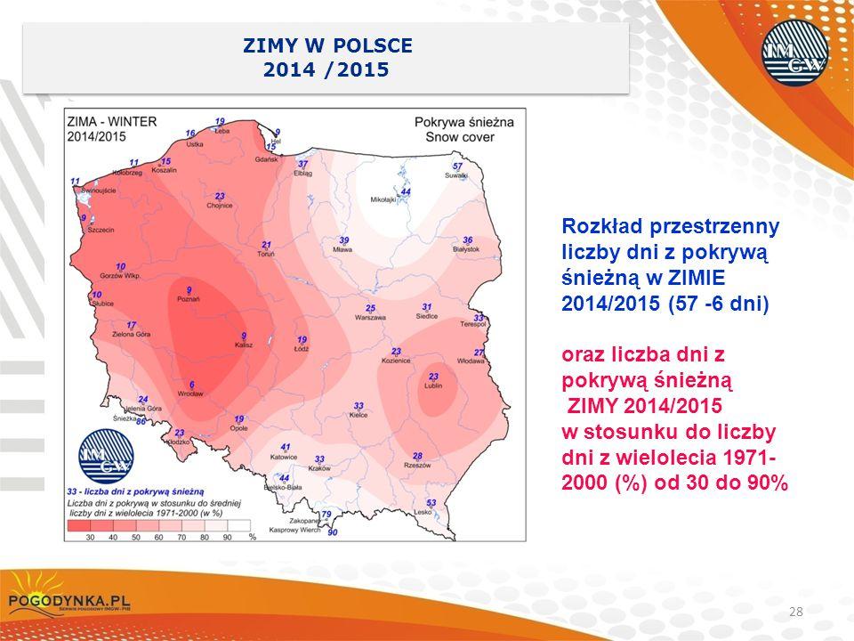 liczby dni z pokrywą śnieżną w ZIMIE 2014/2015 (57 -6 dni)