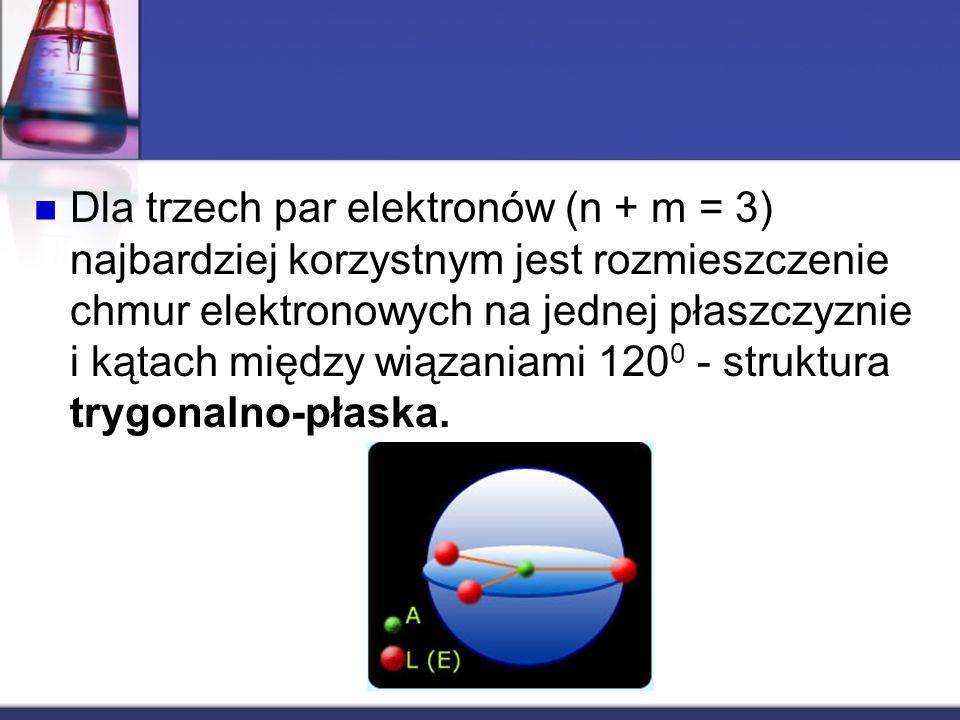 Dla trzech par elektronów (n + m = 3) najbardziej korzystnym jest rozmieszczenie chmur elektronowych na jednej płaszczyznie i kątach między wiązaniami 1200 - struktura trygonalno-płaska.