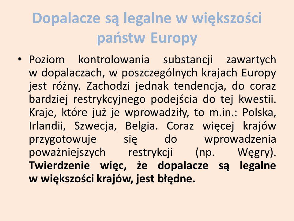 Dopalacze są legalne w większości państw Europy
