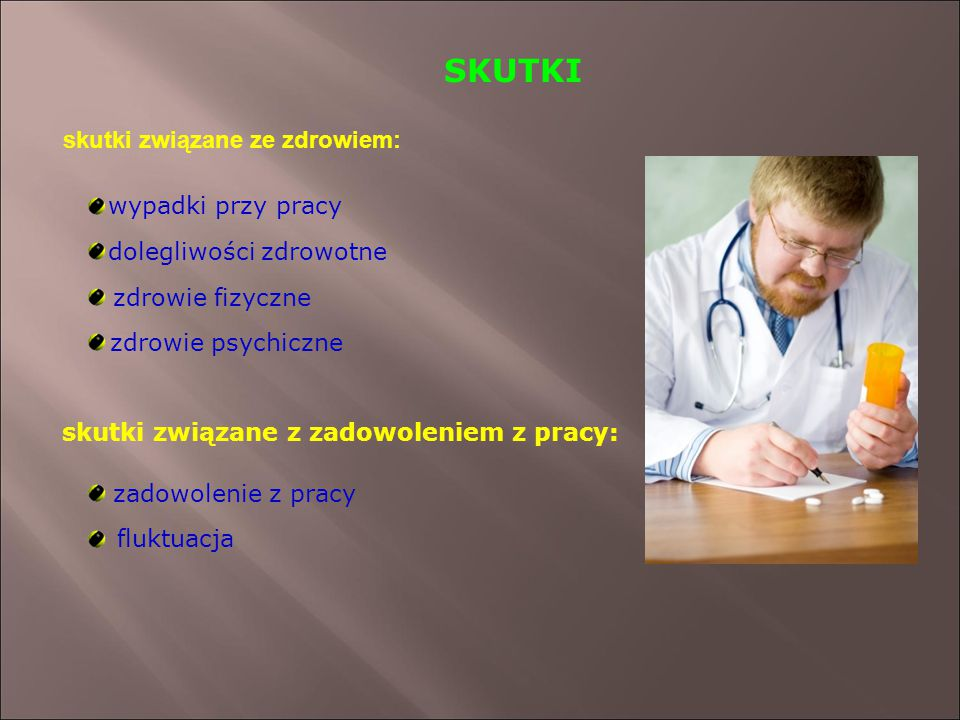 SKUTKI skutki związane ze zdrowiem: wypadki przy pracy