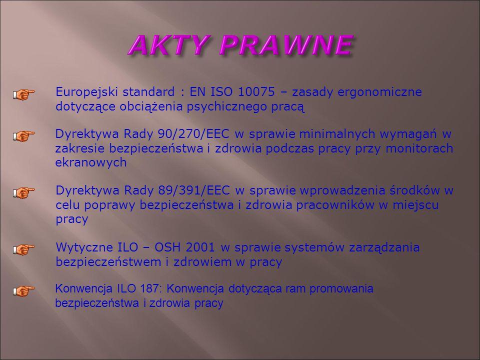 Europejski standard : EN ISO 10075 – zasady ergonomiczne dotyczące obciążenia psychicznego pracą