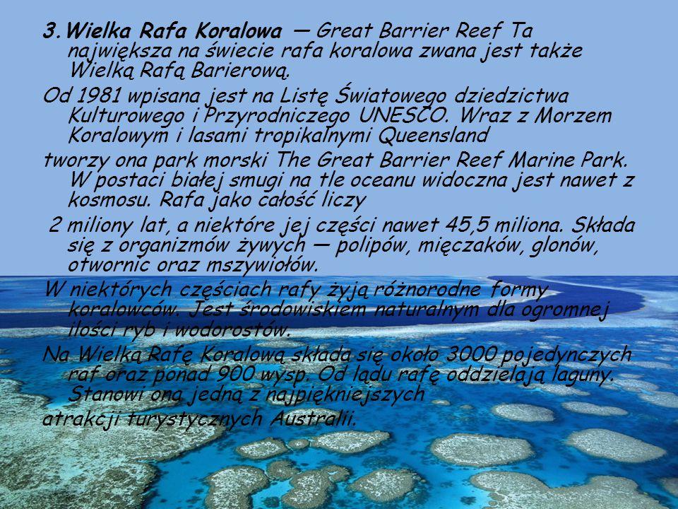 3.Wielka Rafa Koralowa — Great Barrier Reef Ta największa na świecie rafa koralowa zwana jest także Wielką Rafą Barierową.