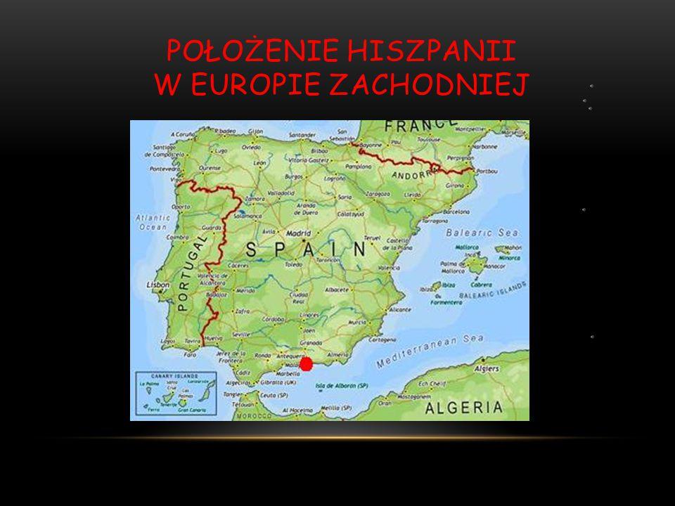 Położenie Hiszpanii w Europie zachodniej