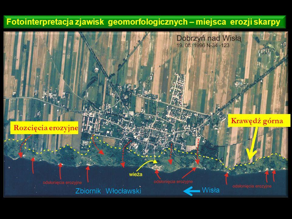 Fotointerpretacja zjawisk geomorfologicznych – miejsca erozji skarpy
