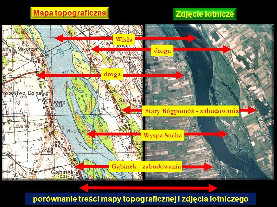 porównanie treści mapy topograficznej i zdjęcia lotniczego