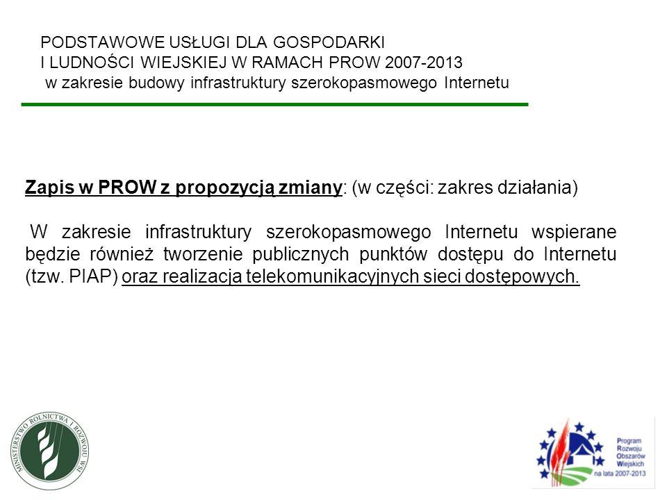 Zapis w PROW z propozycją zmiany: (w części: zakres działania)