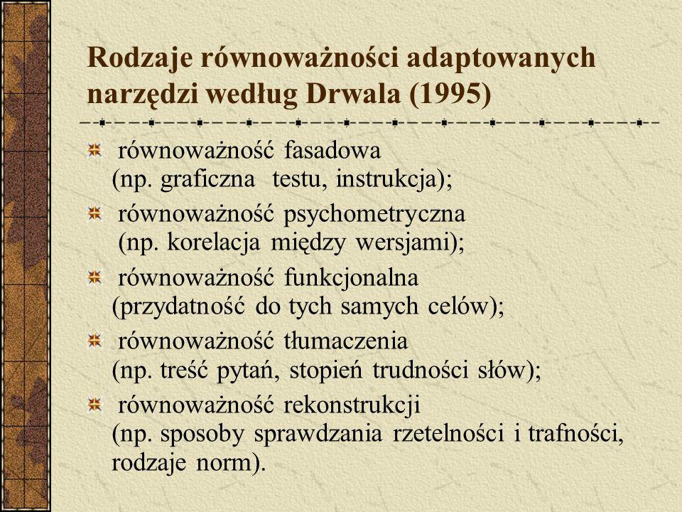 Rodzaje równoważności adaptowanych narzędzi według Drwala (1995)