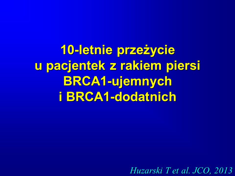10-letnie przeżycie u pacjentek z rakiem piersi BRCA1-ujemnych i BRCA1-dodatnich