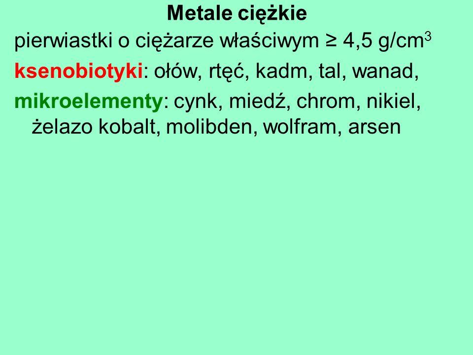 Metale ciężkiepierwiastki o ciężarze właściwym ≥ 4,5 g/cm3. ksenobiotyki: ołów, rtęć, kadm, tal, wanad,
