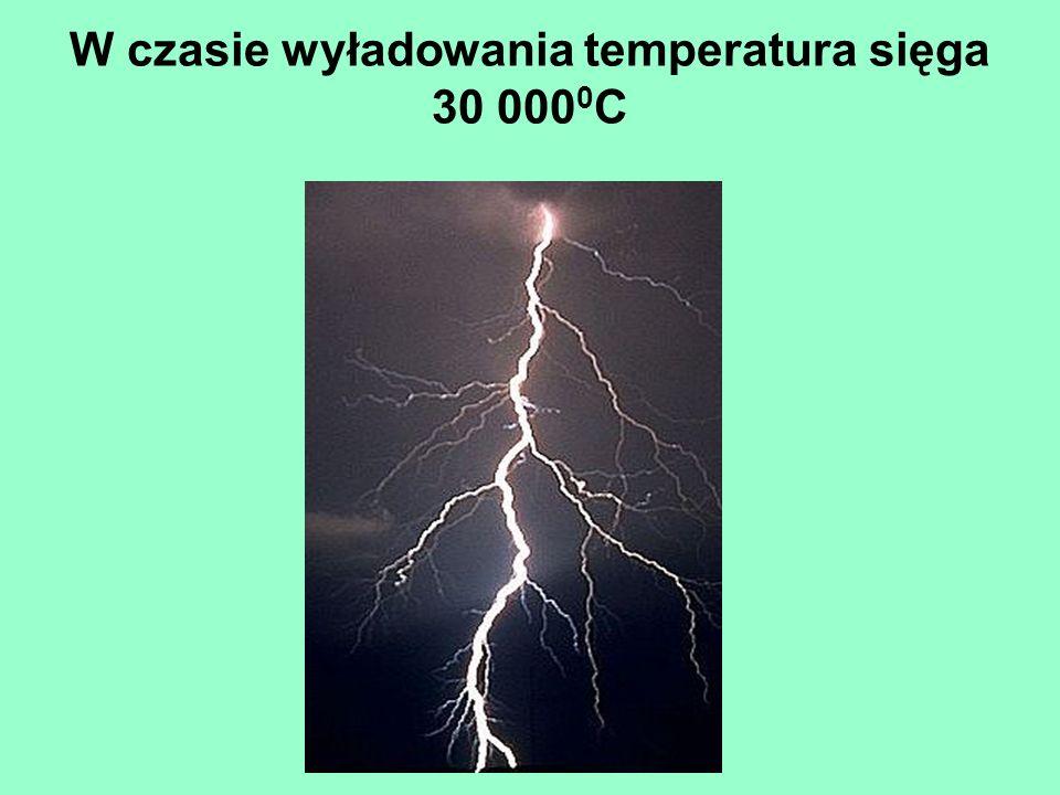 W czasie wyładowania temperatura sięga 30 0000C