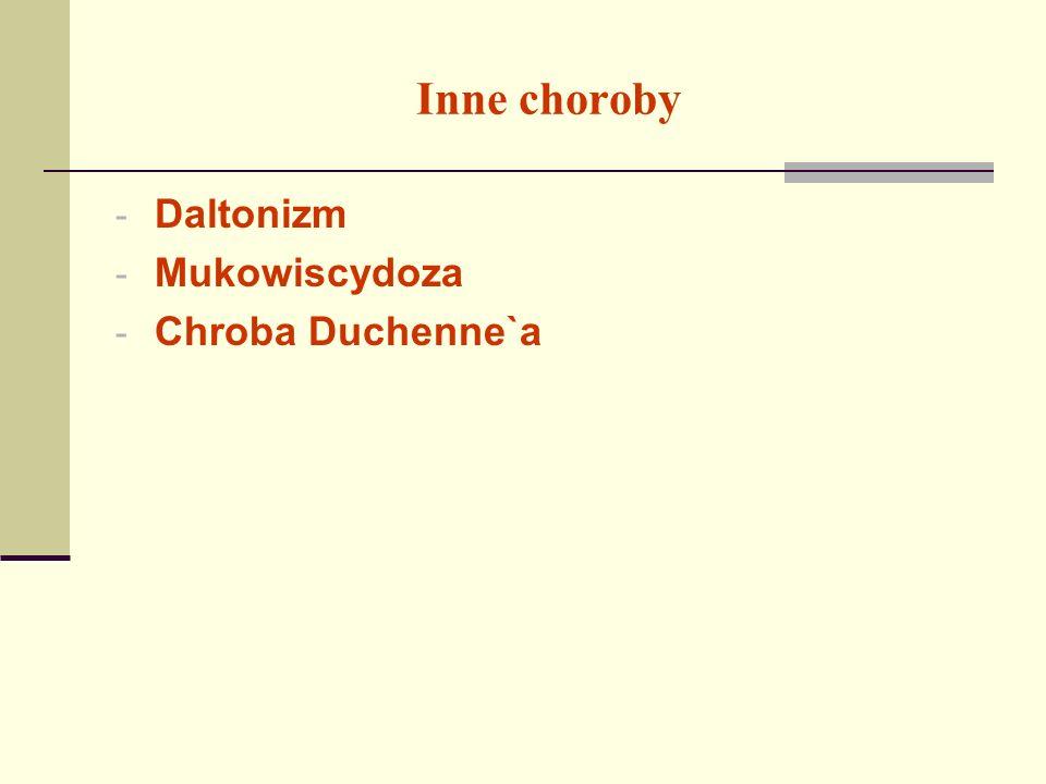 Inne choroby Daltonizm Mukowiscydoza Chroba Duchenne`a