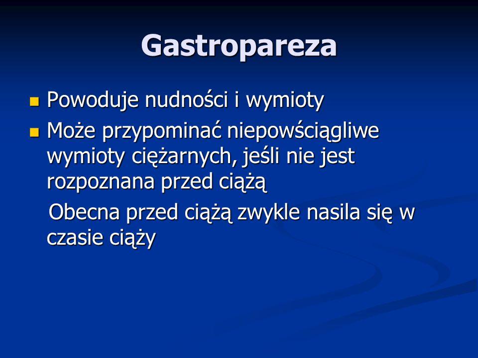 Gastropareza Powoduje nudności i wymioty
