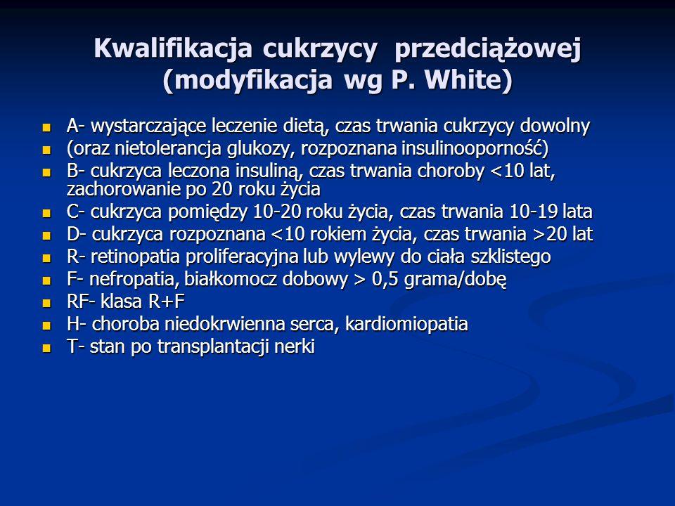 Kwalifikacja cukrzycy przedciążowej (modyfikacja wg P. White)