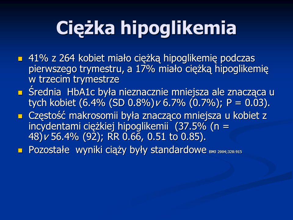 Ciężka hipoglikemia 41% z 264 kobiet miało ciężką hipoglikemię podczas pierwszego trymestru, a 17% miało ciężką hipoglikemię w trzecim trymestrze.