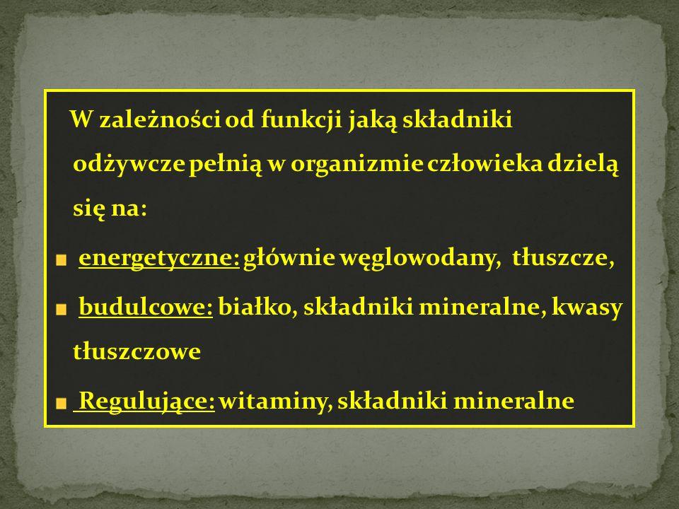W zależności od funkcji jaką składniki odżywcze pełnią w organizmie człowieka dzielą się na: