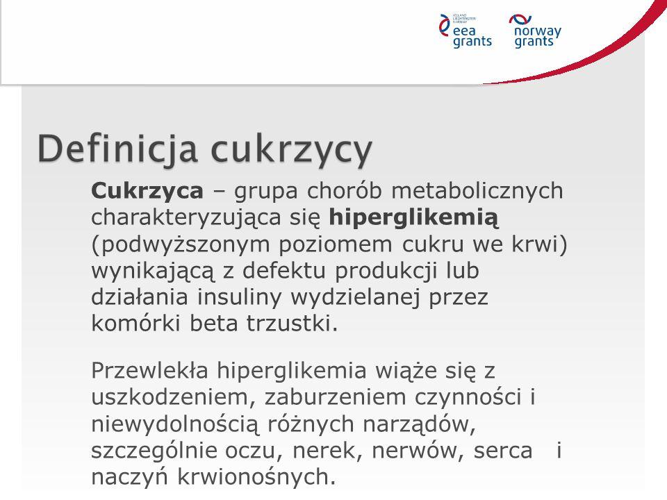 Cukrzyca – grupa chorób metabolicznych charakteryzująca się hiperglikemią (podwyższonym poziomem cukru we krwi) wynikającą z defektu produkcji lub działania insuliny wydzielanej przez komórki beta trzustki.
