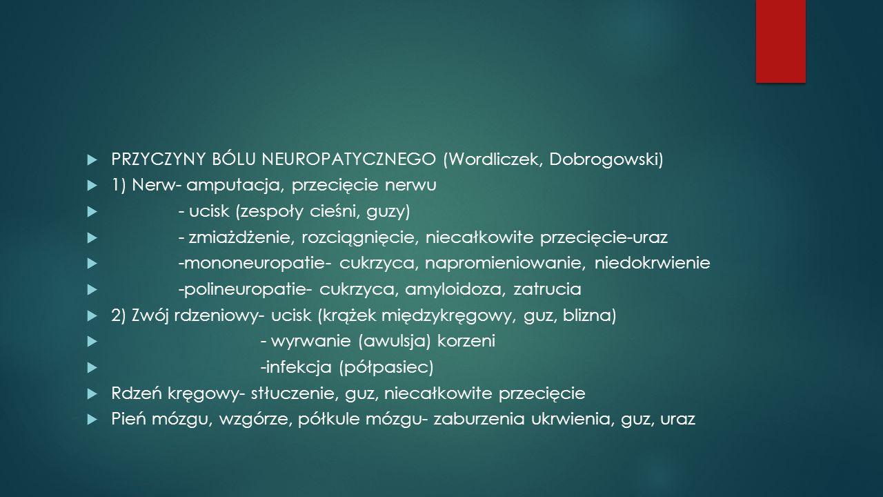 PRZYCZYNY BÓLU NEUROPATYCZNEGO (Wordliczek, Dobrogowski)