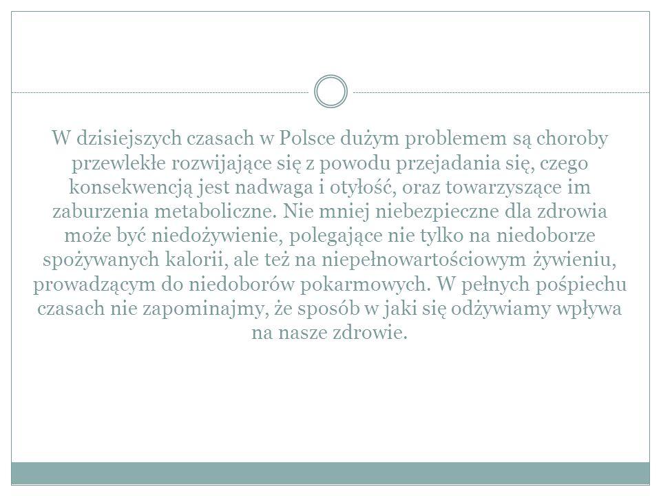 W dzisiejszych czasach w Polsce dużym problemem są choroby przewlekłe rozwijające się z powodu przejadania się, czego konsekwencją jest nadwaga i otyłość, oraz towarzyszące im zaburzenia metaboliczne.
