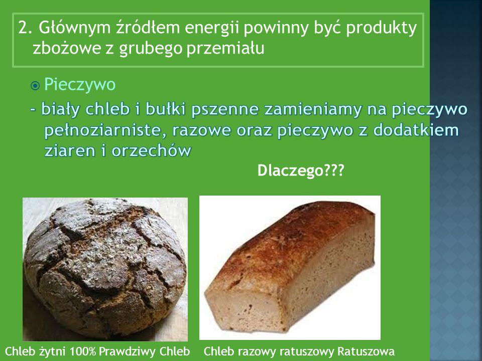 2. Głównym źródłem energii powinny być produkty zbożowe z grubego przemiału