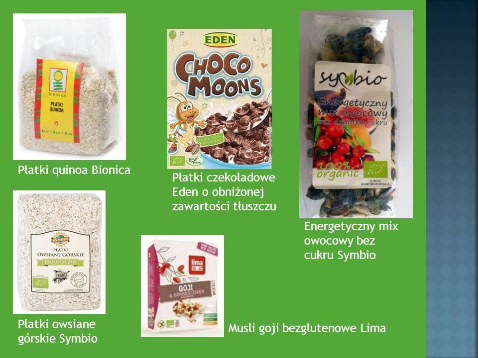 Płatki quinoa Bionica Płatki czekoladowe. Eden o obniżonej zawartości tłuszczu. Energetyczny mix owocowy bez cukru Symbio.