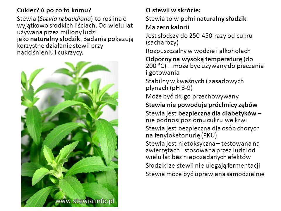 Cukier A po co to komu Stewia (Stevia rebaudiana) to roślina o wyjątkowo słodkich liściach. Od wielu lat używana przez miliony ludzi jako naturalny słodzik. Badania pokazują korzystne działanie stewii przy nadciśnieniu i cukrzycy.