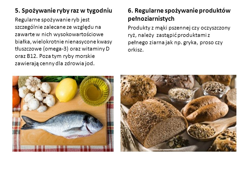 5. Spożywanie ryby raz w tygodniu