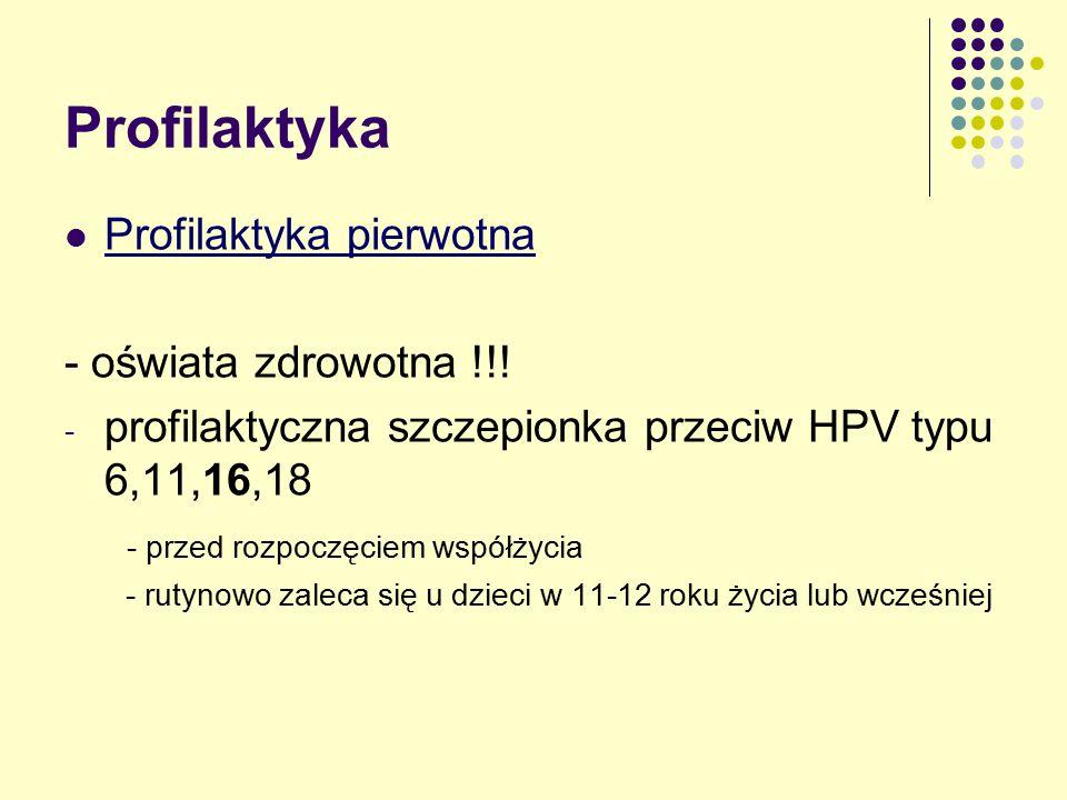 Profilaktyka Profilaktyka pierwotna - oświata zdrowotna !!!