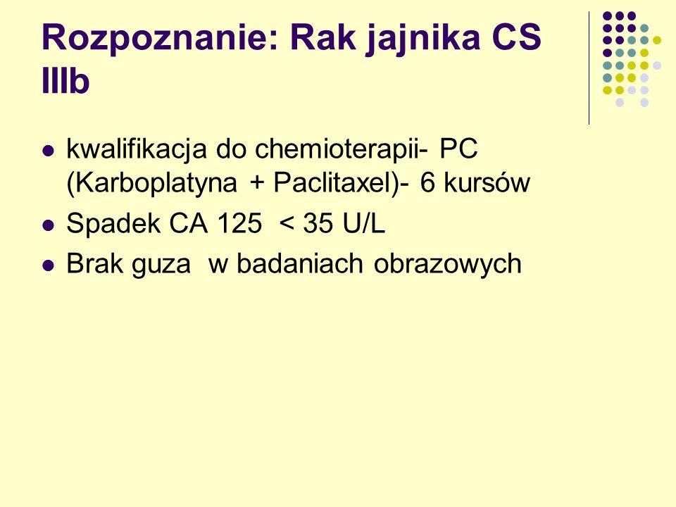 Rozpoznanie: Rak jajnika CS IIIb