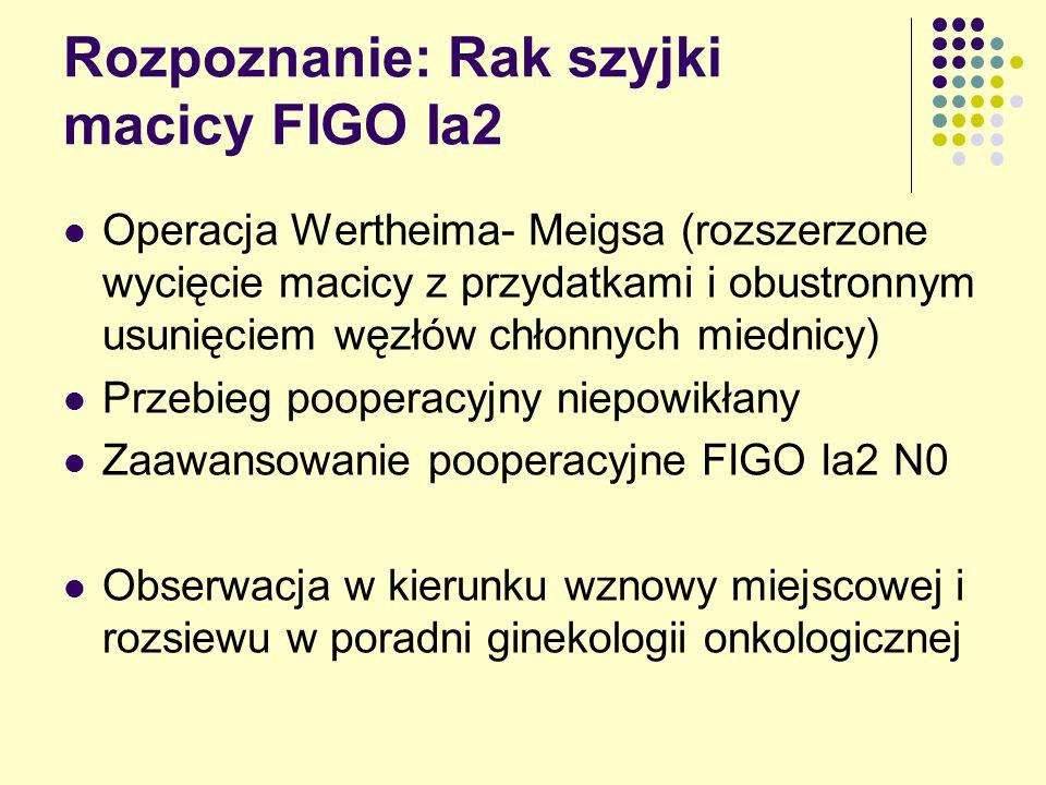 Rozpoznanie: Rak szyjki macicy FIGO Ia2