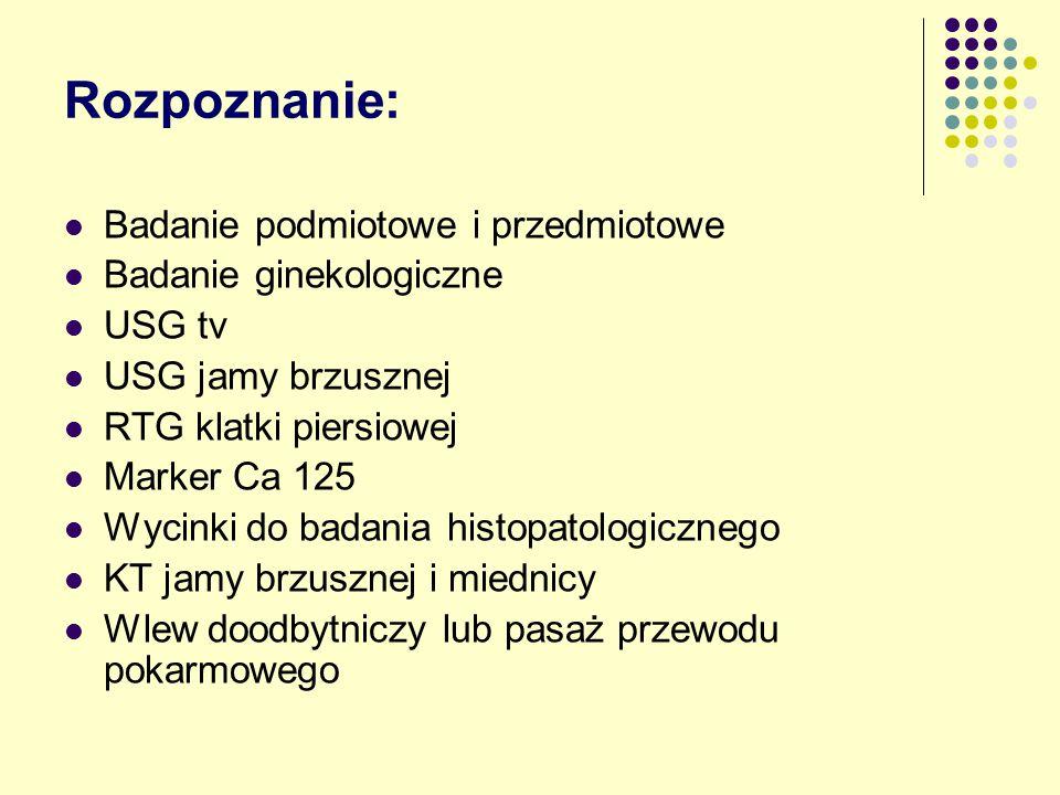 Rozpoznanie: Badanie podmiotowe i przedmiotowe Badanie ginekologiczne