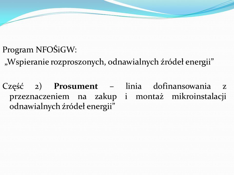 """Program NFOŚiGW: """"Wspieranie rozproszonych, odnawialnych źródeł energii"""
