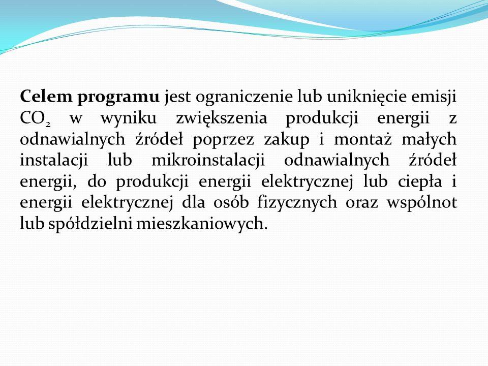 Celem programu jest ograniczenie lub uniknięcie emisji CO2 w wyniku zwiększenia produkcji energii z odnawialnych źródeł poprzez zakup i montaż małych instalacji lub mikroinstalacji odnawialnych źródeł energii, do produkcji energii elektrycznej lub ciepła i energii elektrycznej dla osób fizycznych oraz wspólnot lub spółdzielni mieszkaniowych.
