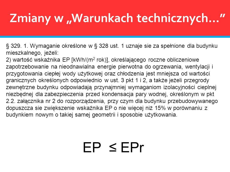 """EP ≤ EPr Zmiany w """"Warunkach technicznych…"""
