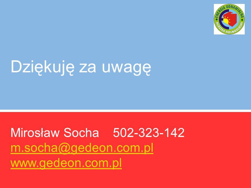 Dziękuję za uwagę Mirosław Socha 502-323-142 m.socha@gedeon.com.pl