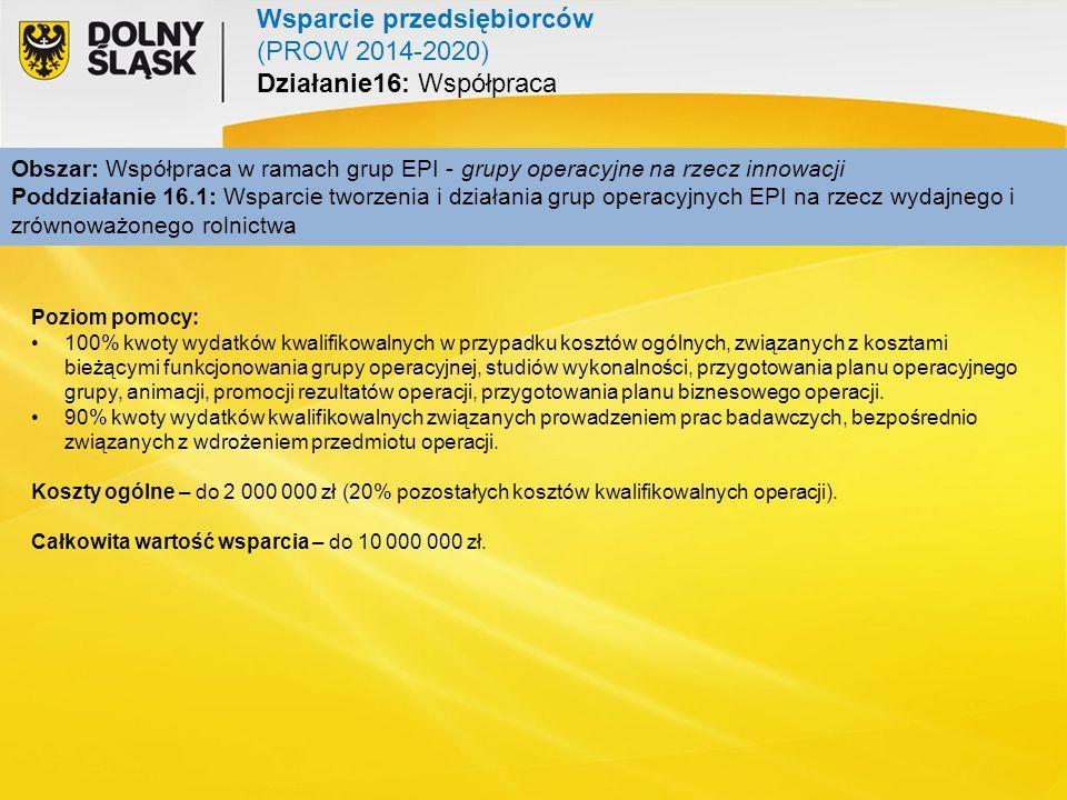 Wsparcie przedsiębiorców (PROW 2014-2020) Działanie16: Współpraca