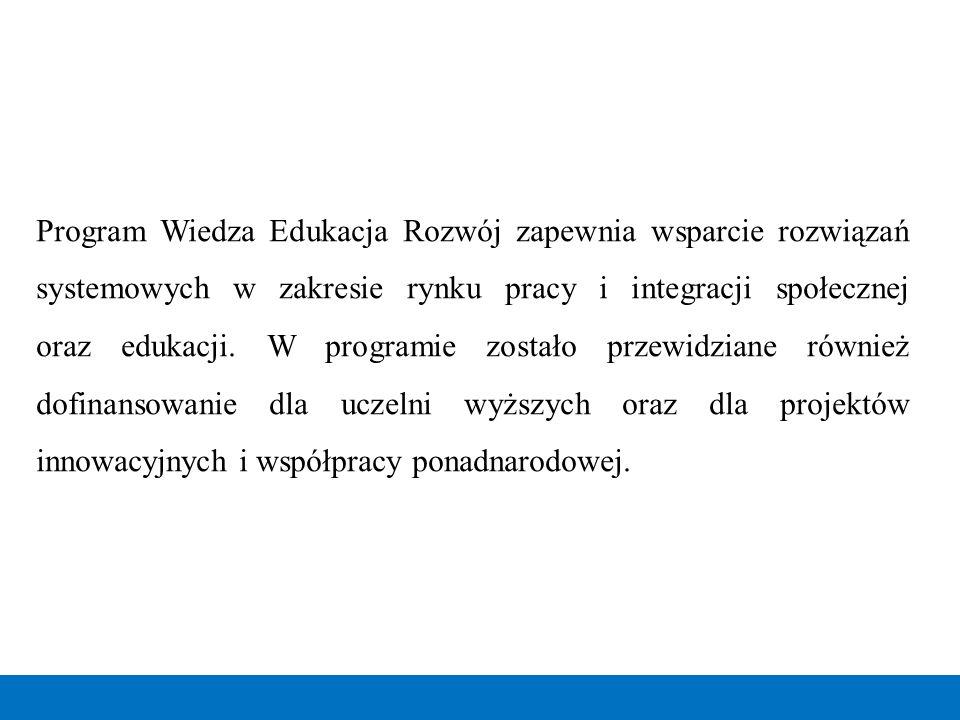 Program Wiedza Edukacja Rozwój zapewnia wsparcie rozwiązań systemowych w zakresie rynku pracy i integracji społecznej oraz edukacji.