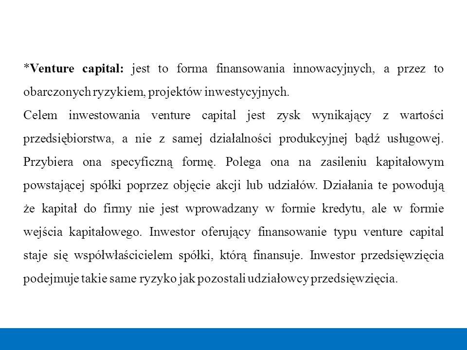 *Venture capital: jest to forma finansowania innowacyjnych, a przez to obarczonych ryzykiem, projektów inwestycyjnych.