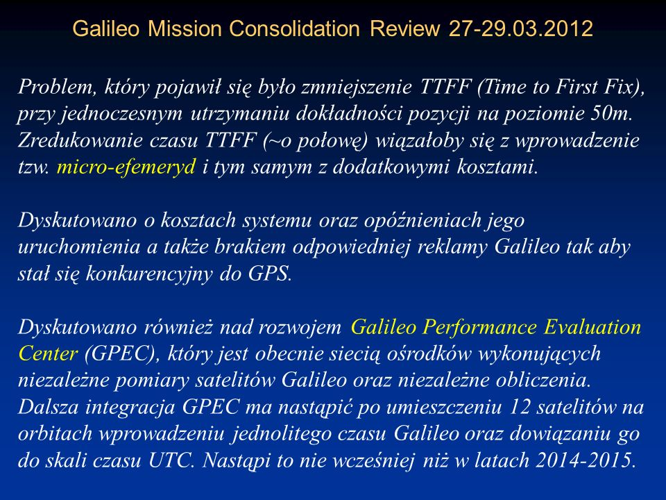 Galileo Mission Consolidation Review 27-29.03.2012