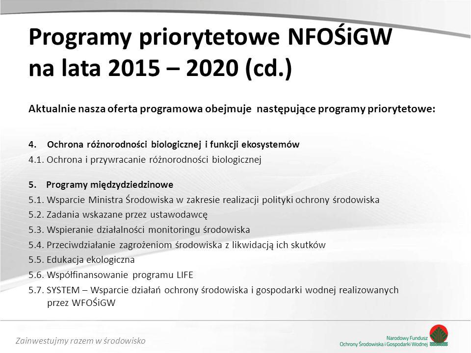 Programy priorytetowe NFOŚiGW na lata 2015 – 2020 (cd.)