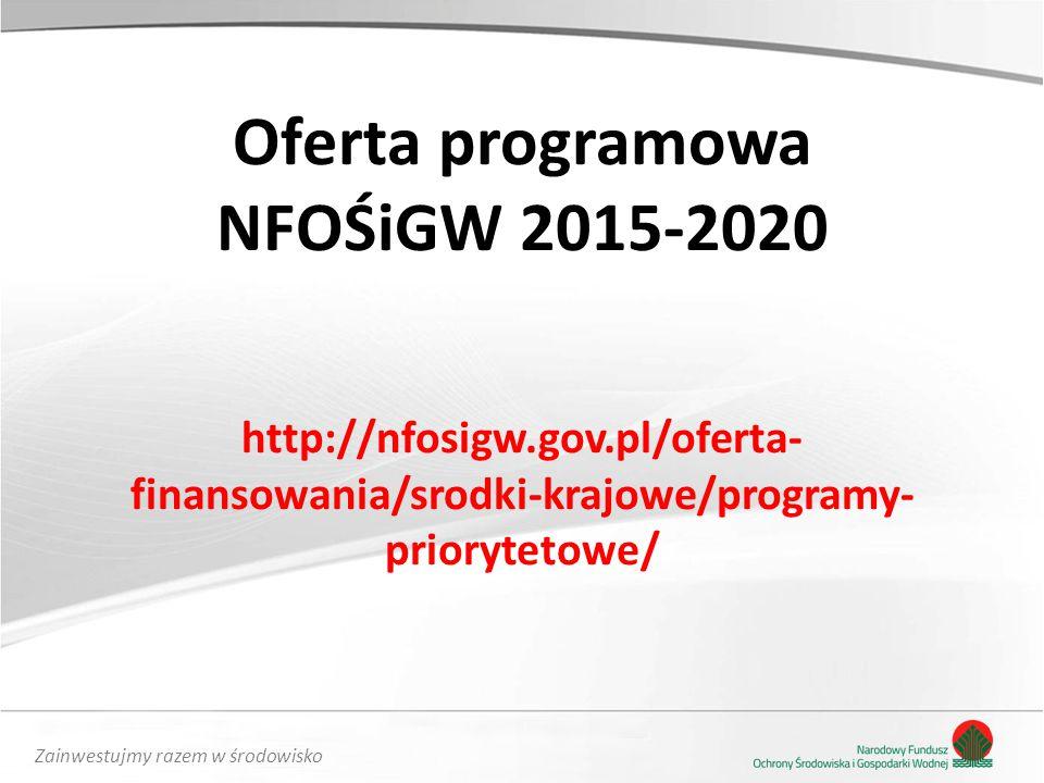 Oferta programowa NFOŚiGW 2015-2020 http://nfosigw. gov