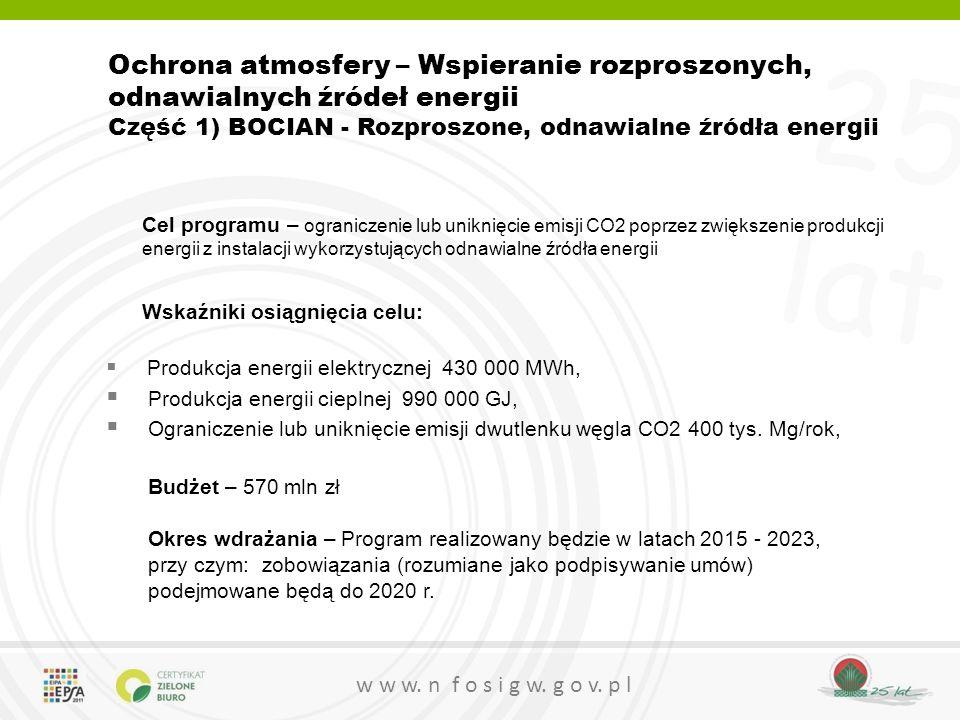 Ochrona atmosfery – Wspieranie rozproszonych, odnawialnych źródeł energii Część 1) BOCIAN - Rozproszone, odnawialne źródła energii