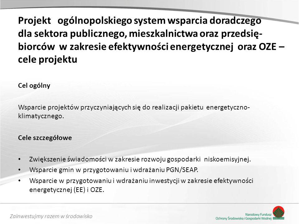 Projekt ogólnopolskiego system wsparcia doradczego dla sektora publicznego, mieszkalnictwa oraz przedsię-biorców w zakresie efektywności energetycznej oraz OZE – cele projektu