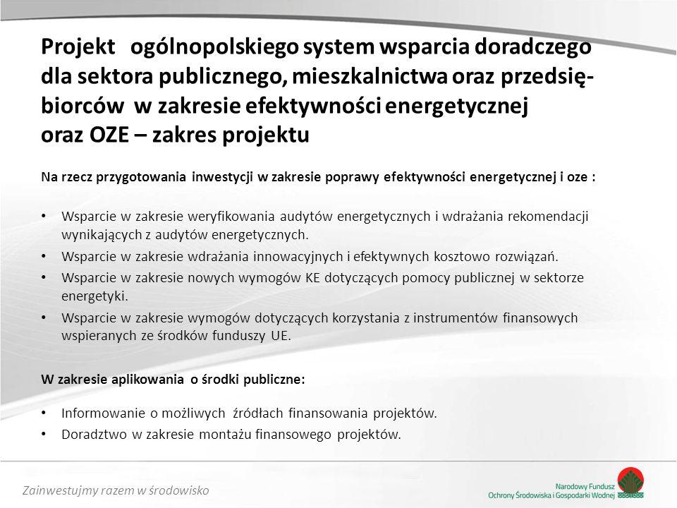 Projekt ogólnopolskiego system wsparcia doradczego dla sektora publicznego, mieszkalnictwa oraz przedsię-biorców w zakresie efektywności energetycznej oraz OZE – zakres projektu