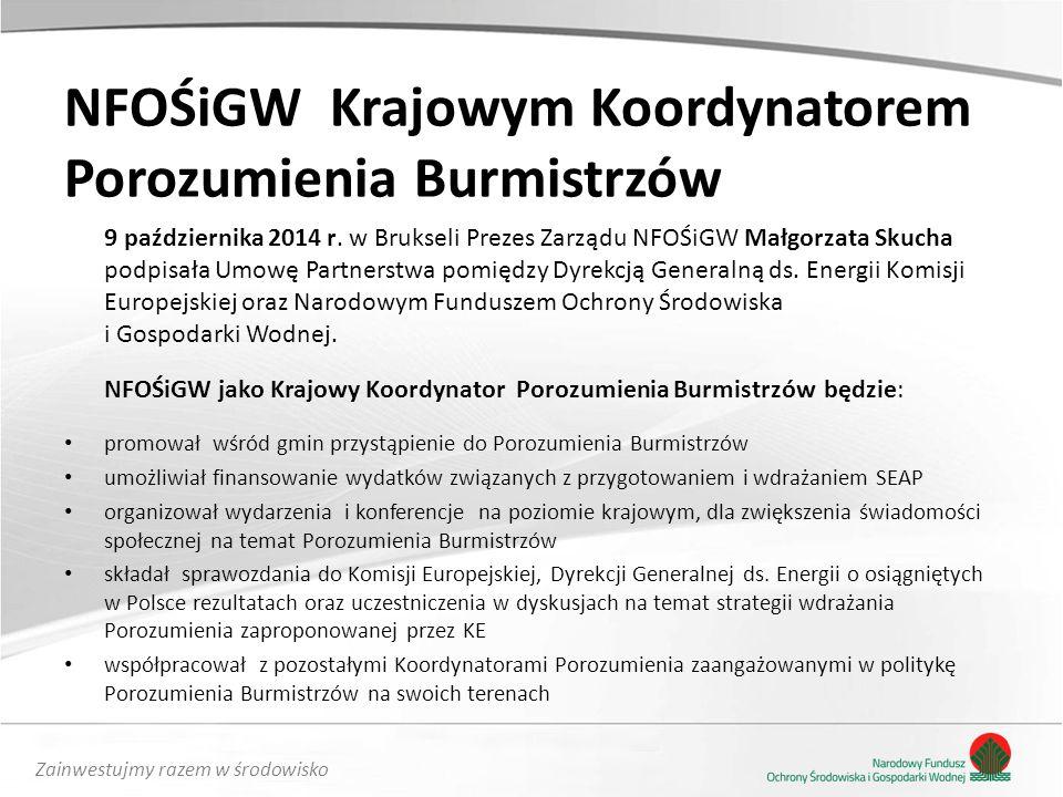NFOŚiGW Krajowym Koordynatorem Porozumienia Burmistrzów